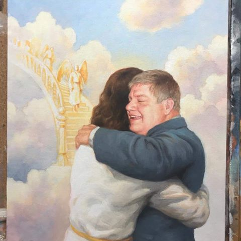 """Welcome Home"" Pastor Jim Weiland. Artist, Matt Philleo. Used by permission from the Weiland Family."